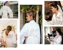 Bride robes, WHITE silk satin, wedding bridesmaid silk robes, dressing gown, personalized silk robe, kimono robes, floral robe, bridal robe
