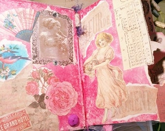 Handmade Altered Book Journal - Vintage French Ephemera Theme, Altered Books, Gift for Her