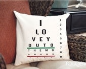 "Eye Chart ""I love you to the moon and back"" throw pillow cover  add on pillow insert - 14""x14"" cover - 16""x16"" feather/down insert"
