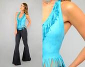 70's Turquoise DEERSKIN Fringed Halter Top