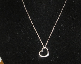 Silver Tone Heart Chain Necklace