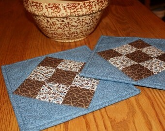 Quilted Pot holders, Quilted Hot pads, Trivets, Blue and Brown