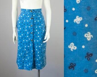 "1930s 40s Vintage Cotton Print Midi Skort - Skirt Shorts (S, M; 26 1/2"" Waist)"