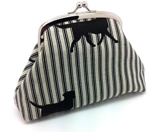 Black Dog Kiss Lock Clutch Coin Purse Wallet Silver Double Frame Gift for Women Striped Linen Cotton Silk