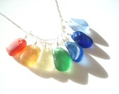 Seaham Sea Glass rainbow pendant - E1559 - from Seaham beach, UK