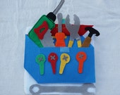 Tool Box- Quiet Book Page /  Toddler Quiet Book / Personalized Quiet Book / Felt Activity Book / Birthday Gift  / Sensory Toy / Fine Motor /