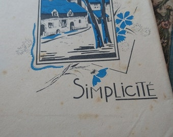 Sweet pack antique French writing paper and envelopes unused Simplicite  ATTIC FIND c1920  Belle Brocante
