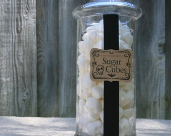 GOTHIC VALENTINE GIFT Apothecary Jar - 70 Skull Sugar Cubes - 1 Large Jar Suagr Skulls