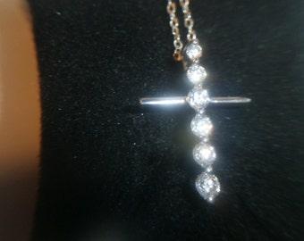 Vintage Necklace, 925 Sterling CZ, Cross pendant, chain necklace
