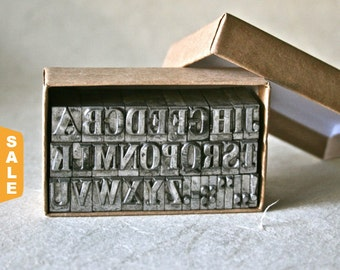 August is Letterpress Month - 20% off Vintage Letterpress Alphabet 30pt Winchell for Printing Stamping and Clay Stamping