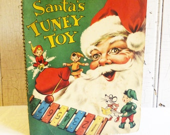 Santa's Tuney Toy - Vintage Christmas Book with Xylophone, Song Music and Pop-up Pages -  Activity Book - Mid-Century 1950s - Kitschmas