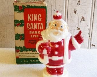 Vintage Light Up King Santa Bank with Original Box - Harett Gilmar - Mid-Century 1950s - Kitschy Christmas Decoration - Kitschmas