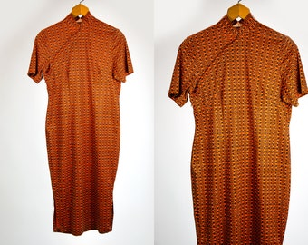 Vintage 1960's 70's Mod Oriental Inspired Geometric Orange and Black Short Sleeved Curvy Dress Snap Buttons Up Chest Women's Medium Large