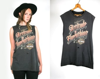 Vintage 1980's Harley Davidson Attitude Is Everything Distressed Thread Bare Grey Muscle Tank Top Unisex Adults Motorcycle Apparel