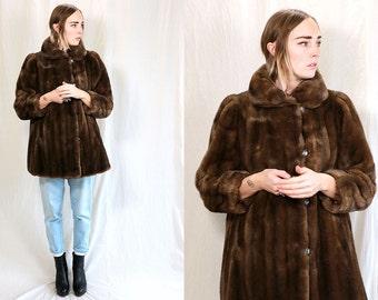 Vintage VTG VG 1970's 70's 1960's 60's Faux Fur Vegan Brown Swing Coat Trapease Sears Brand The Fashion Place Women's Medium Large