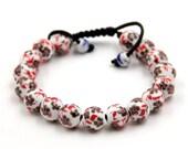 Tibetan Buddhist 10mm Porcelain Porcelain Leaf Prayer Beads Mala Bracelet  T3312