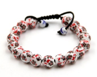 Tibetan Buddhist 10mm Porcelain Porcelain Leaf Prayer Beads Mala Bracelet  T3312