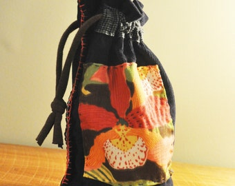 Navy Blue Boho Art Bag/Upcycled Patchwork Bag/Kanji/Kantha/Modern Folk Art