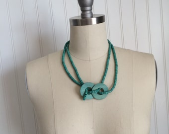 Vintage Blue Wooden Beaded Necklace