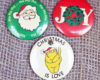 Vintage Christmas Button Pins 2-1/4 in, Holiday Pins, Christmas Pinback Buttons, JOY, Santa, Christmas Cat, Pinback Badge, Beanie Accessory