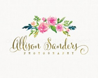 Premade Photography Logo Flower Logo Watercolor Logo Small Business Logo Hand Drawn Watermark Logo