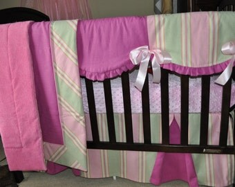 Custom  Crib bedding set 5 pc, ready to ship, SALE