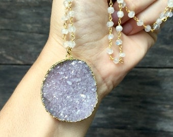 "Druzy Necklace Drusy Quartz Pendant Moonstone Gemstone Chain 32"" Gold Vermeil"