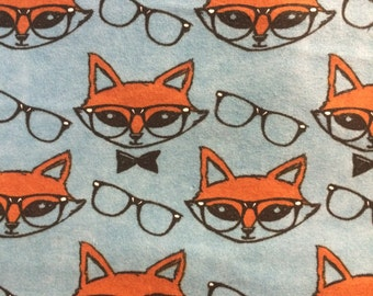 Smart Foxes  - Flannel Fabric -  34 inches