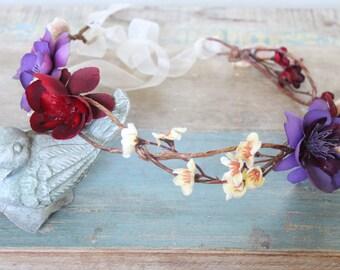 Autumn Wedding Flower Crown, Fall Wedding, Bridal Headpiece, headpiece, Flower Head Wreath, Rustic Wedding, Floral Crown