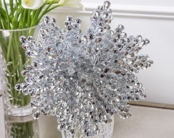 CLOSEOUT - Silver Teardrop Mirrored Bridal Bouquet
