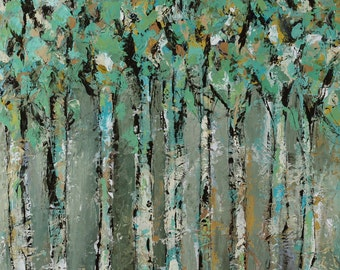 "Trees canvas, painting, art, Through the Forest, 3/4"" thick canvas"