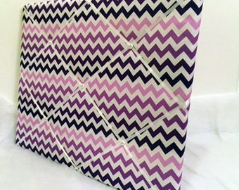 Purple or teal CHEVRON Memory Board French Memo Board YOU PICK fabric and size
