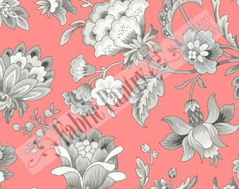 GRACIOUS SKIES~ by Faye Burgos ~ Marcus Brothers Coral-Grey ~ R37-2930-0126