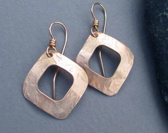 Hammered Bronze Square Hoop Earrings Square Dangle Earrings Modern Metal Jewelry Eighth / 8th Bronze Anniversary Jewelry by Seventh Willow