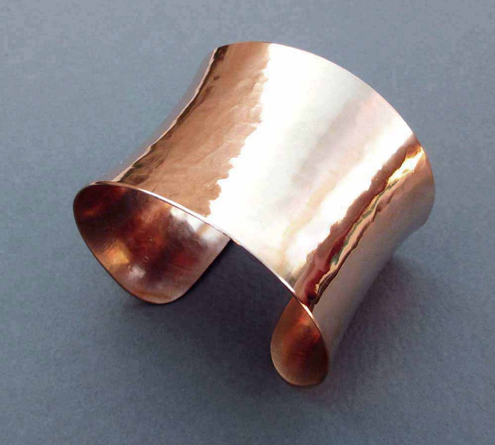 Shiny bronze cuff bracelet modern metal handmade by