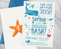 Under the sea invitation | Under the sea birthday | Ocean Birthday | Pool Party Birthday Invitation | Birthday Pool Party | Summer Birthday