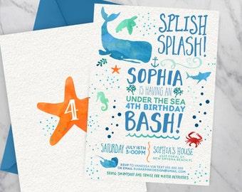 Under the sea invitation   Under the sea birthday   Ocean Birthday   Pool Party Birthday Invitation   Birthday Pool Party   Summer Birthday