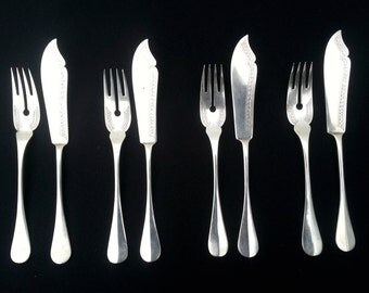 19th Century 800 German Silver Fish Forks and Knives Flatware Set of Four, Linz Austria, Seligmann