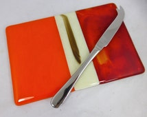 Fused Glass Cheeseboard in Warm Orange, Marmalade and Cream Speciality Glass, charcuterie or fruit platter