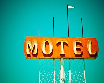 Mid Century Motel Sign Photo | Mid Century Modern Art | Mid Century Modern Wall Art | Neon Sign Art
