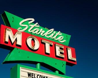Starlite Motel Neon Sign Photo - Mid Century Modern Decor - Mesa Motel - Fine Art