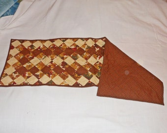 Hand Crafted Patchwork Quilted Autumn Leaves Table Runner