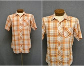 1970s Sears Orange Plaid Shirt