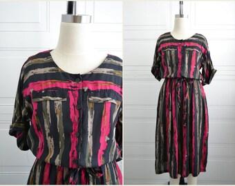 1980s Striped Shirt Dress