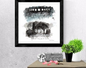 Giclée Art Print - Moon phase forest - Watercolor forest- Splatter Art -  Mixed Media - By Rachael Caringella  Tree Talker Art