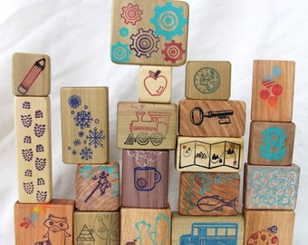 story blocks  - game -  20 blocks made from reclaimed wood