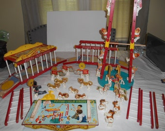VTG Fisher Price CIRCUS people wood pull toy #900 1960s 47pcs LOT