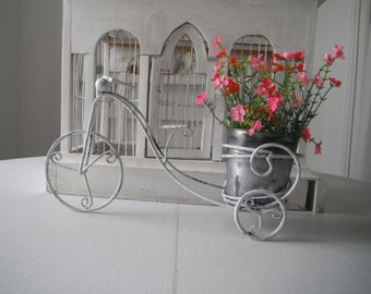 aged white planter bike decor bike planter cottage chic shabby decor rustic bike indoor planter outdoor planter metal plant holder 13.75x5x8