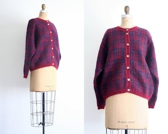 APRIL 20% SALE // plaid mohair ladies cardigan sweater - preppy / British - vintage 80s / Raspberry Wine - soft & fluffy