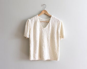 vintage 80s ivory cotton sweater - 80s summer sweater / short sleeve sweater - soft ivory cotton sweater / 80s white cotton sweater
